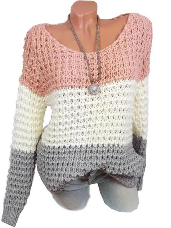 Plus Size Color Blocking Chunky Sweater - LIGHT PINK 5XL