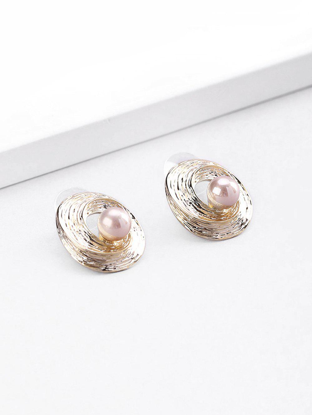 18K Gold Plated Faux Pearl Spiral Stud Earrings - GOLDEN