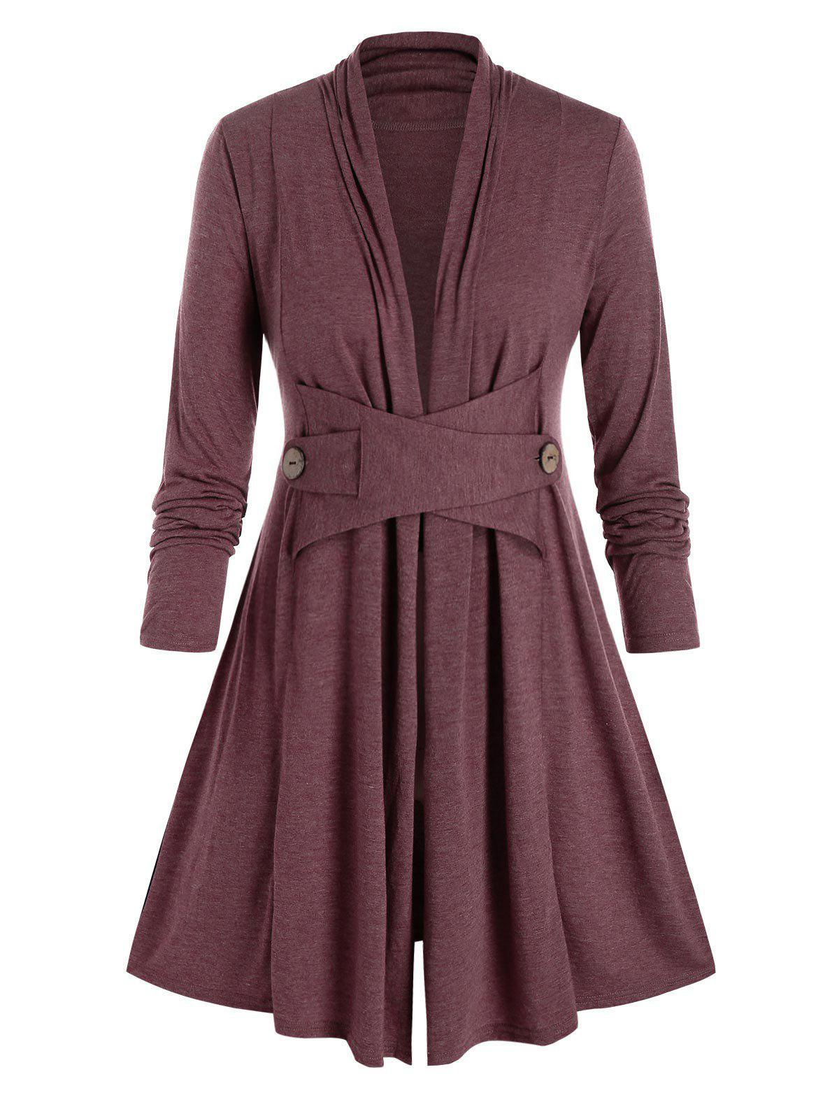 Plus Size Collarless Long Sleeve Tunic Coat - RED WINE 4X