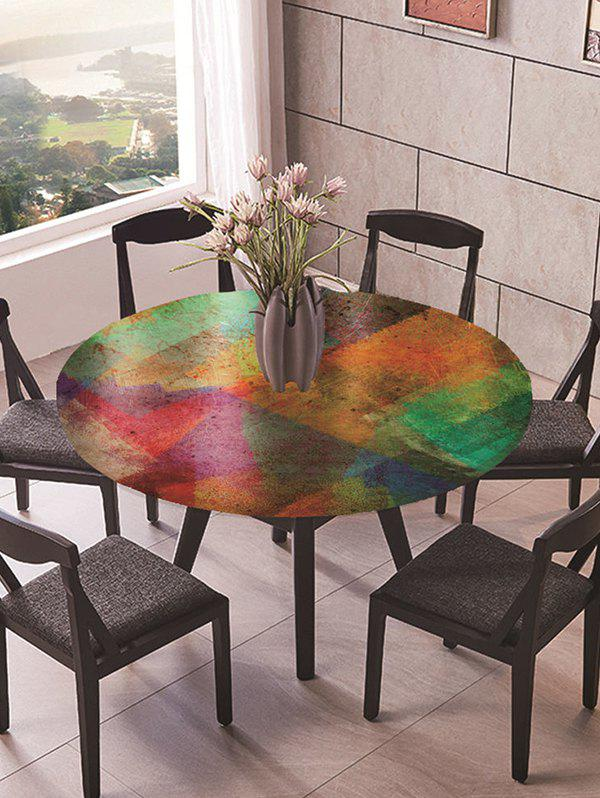 Colorblock Geometric Print Round Fabric Tablecloth - multicolor R47 INCH
