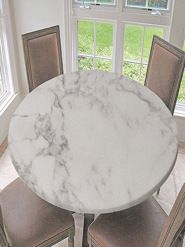 Waterproof Digital Print Marbling Round Fabric Tablecloth - WHITE R47 INCH