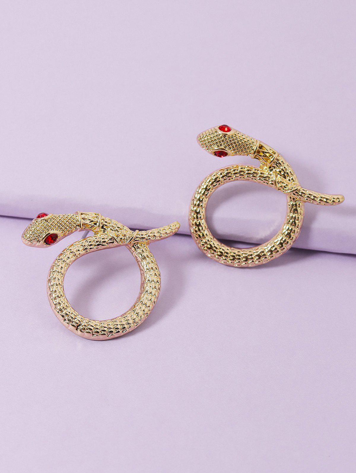 Carved Snake Rhinestone Eyes Circular Earrings - GOLDEN