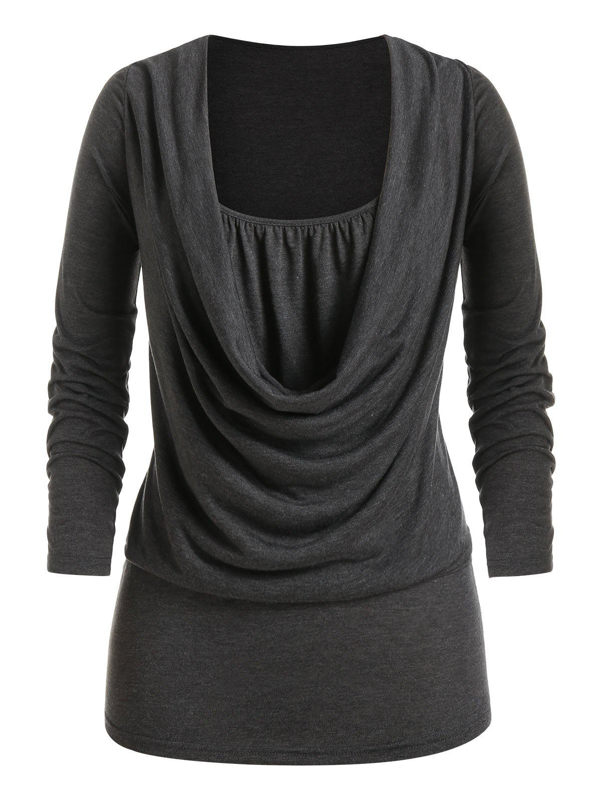 Plus Size Draped Front Long Sleeve Tunic Tee - CARBON GRAY 3X