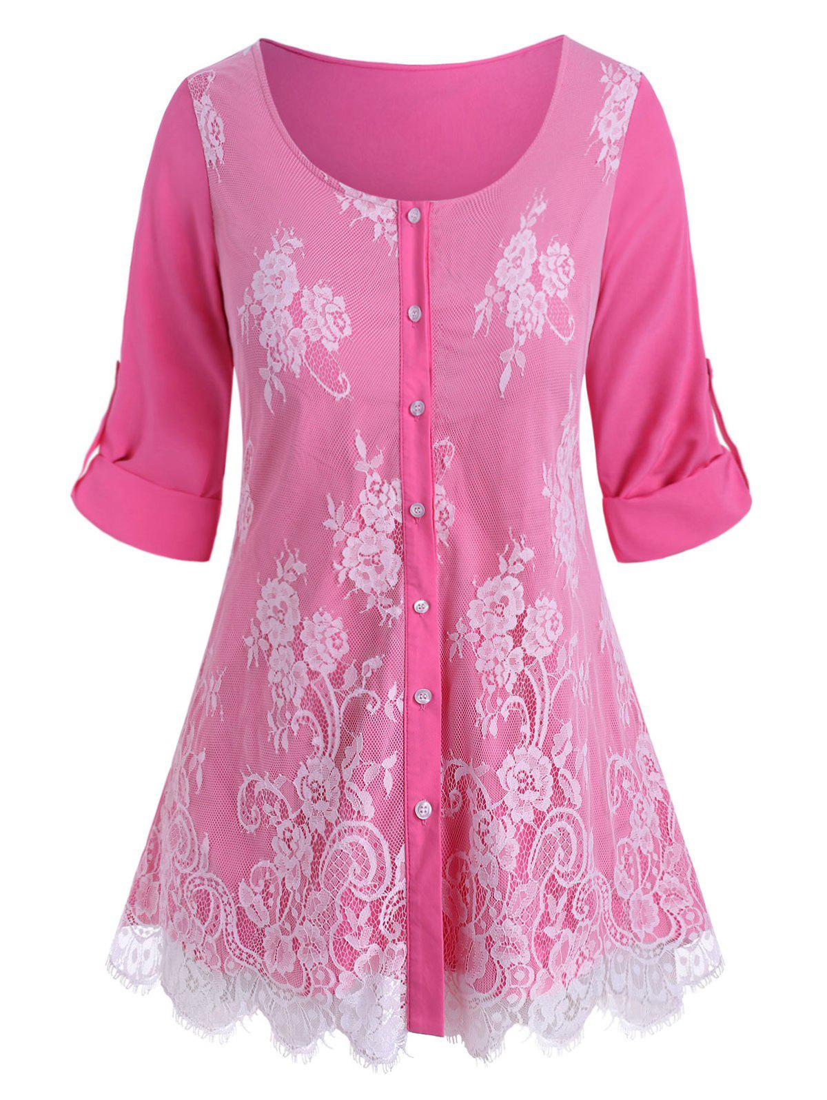 Plus Size Roll Up Sleeve Lace Overlay Blouse - LIGHT PINK 5X