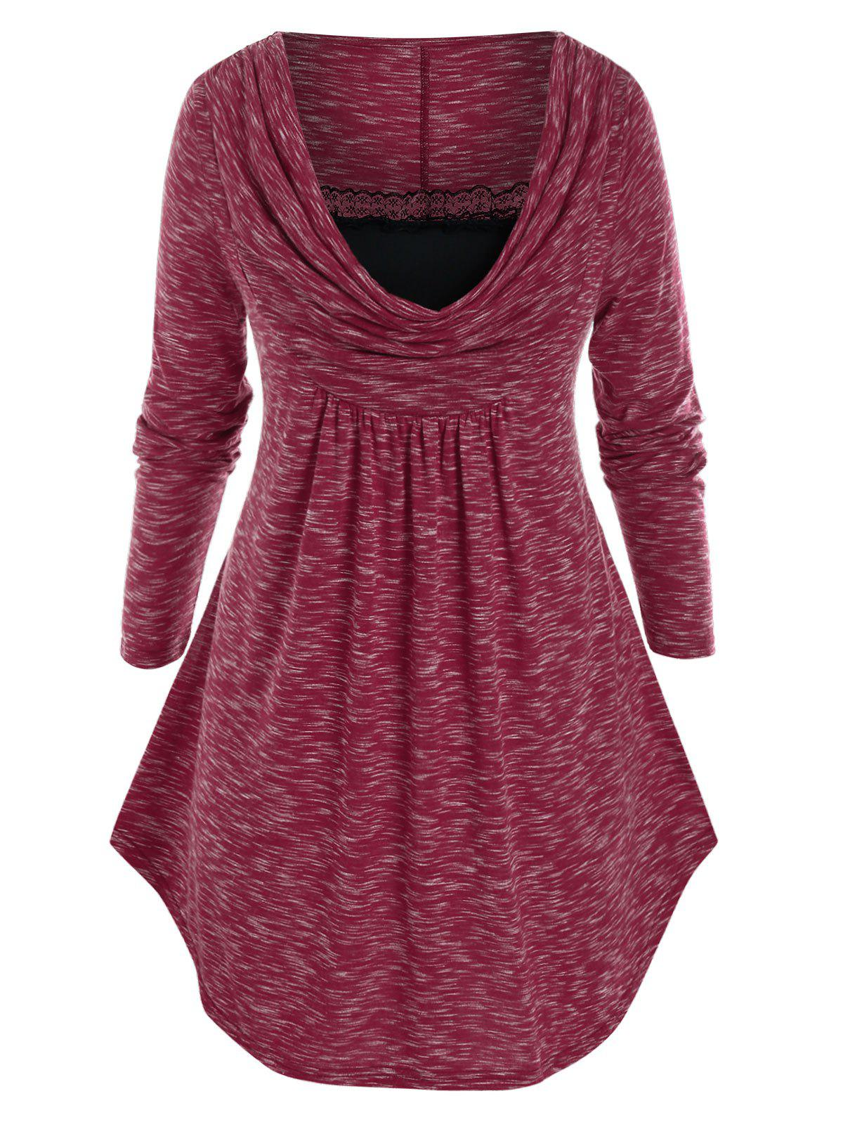Plus Size Space Dye Lace Insert Cowl Front Long Sleeve Tee - RED WINE L