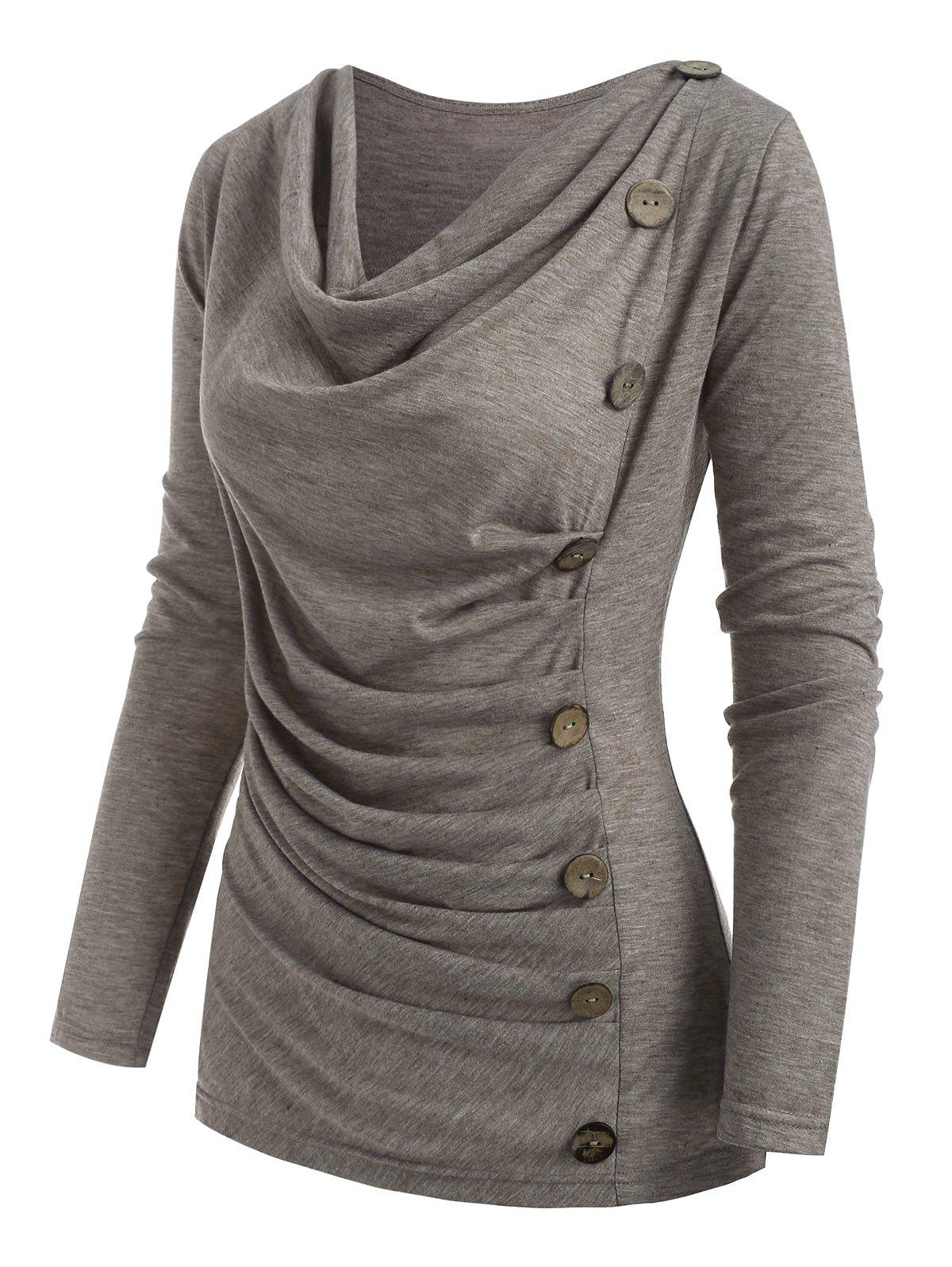 Heather Mock Button Cowl Neck T-shirt - LIGHT COFFEE XL