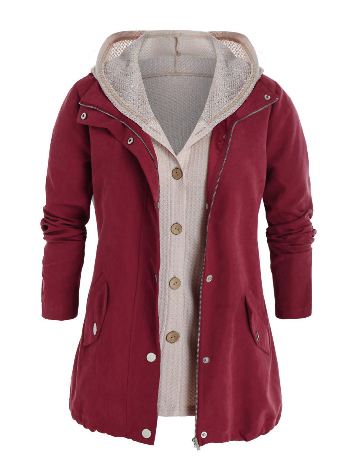 Plus Size Zip Pocket Jacket and Hooded Knit Top Set - RED WINE 5X