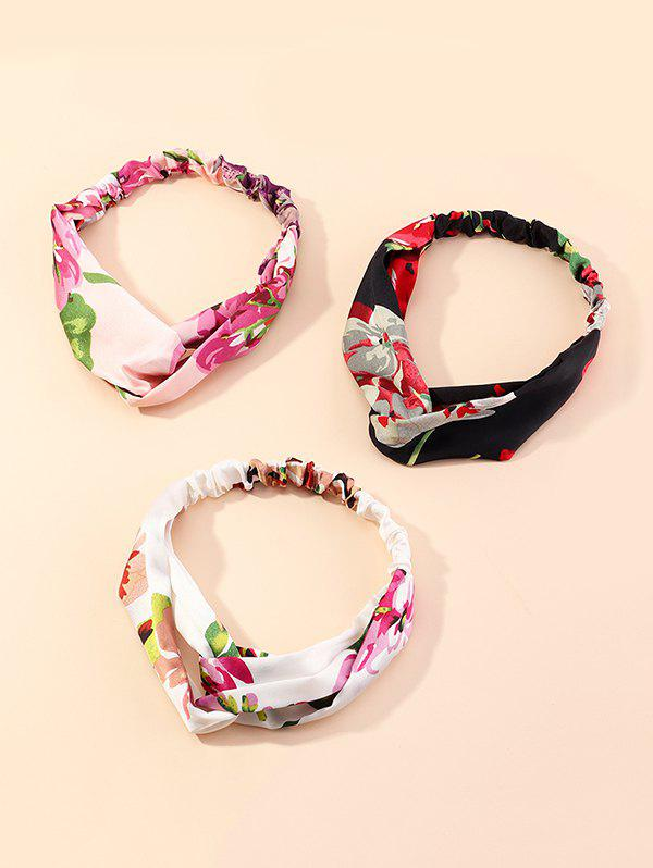 3Pcs Floral Printed Fabric Headband Set - multicolor A