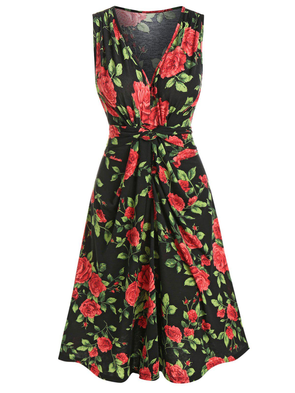 Sleeveless Rose Flower Print Plunge Neck Dress - BLACK 3XL