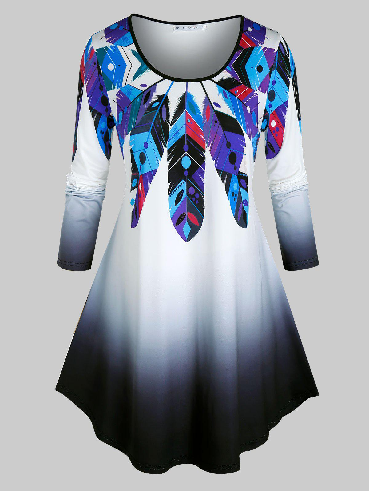 Plus Size Dreamcatcher Feather Print Long Sleeve Tunic Tee - BLACK 5X