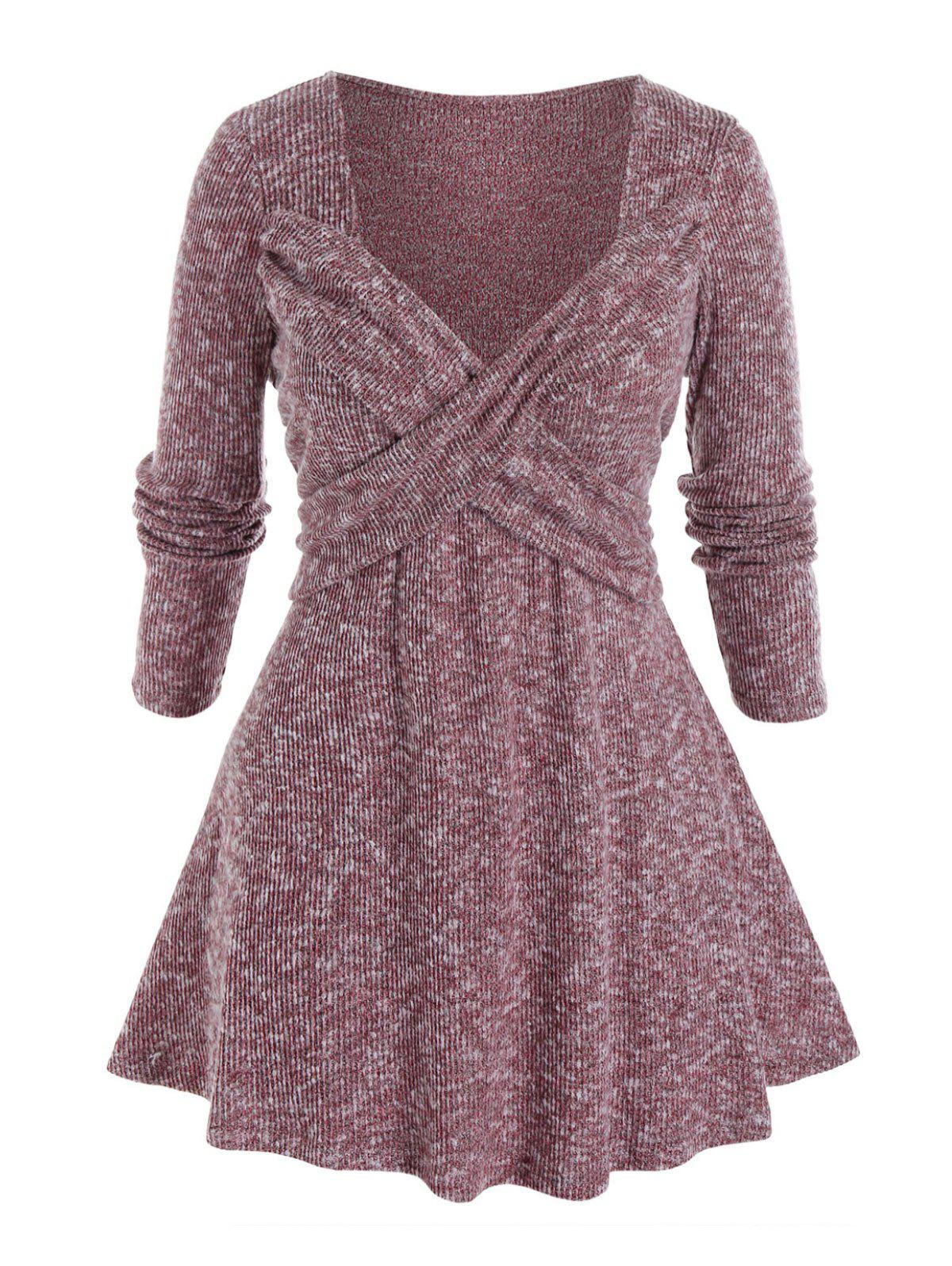 Plus Size Crossover Sweetheart Neck Tunic Knit Sweater - RED WINE 2X