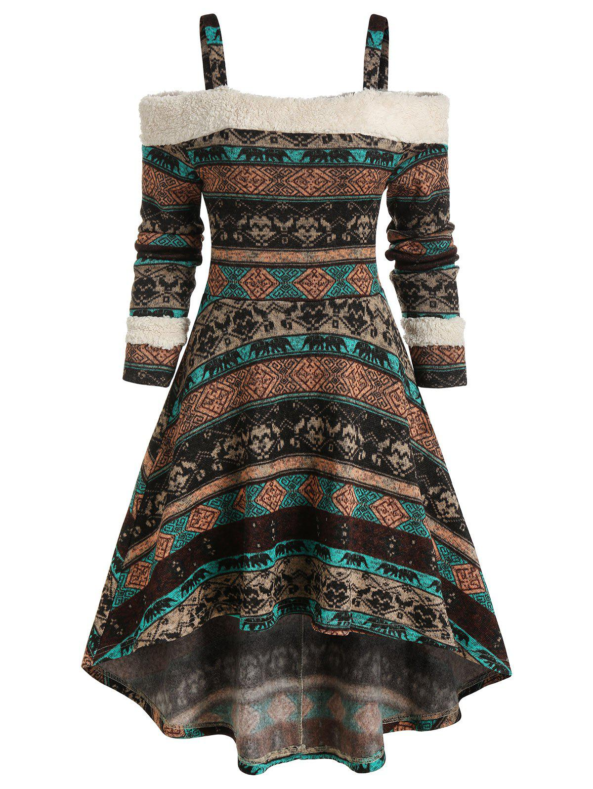 Tribal Print Cold Shoulder High Low Dress - PUCE S