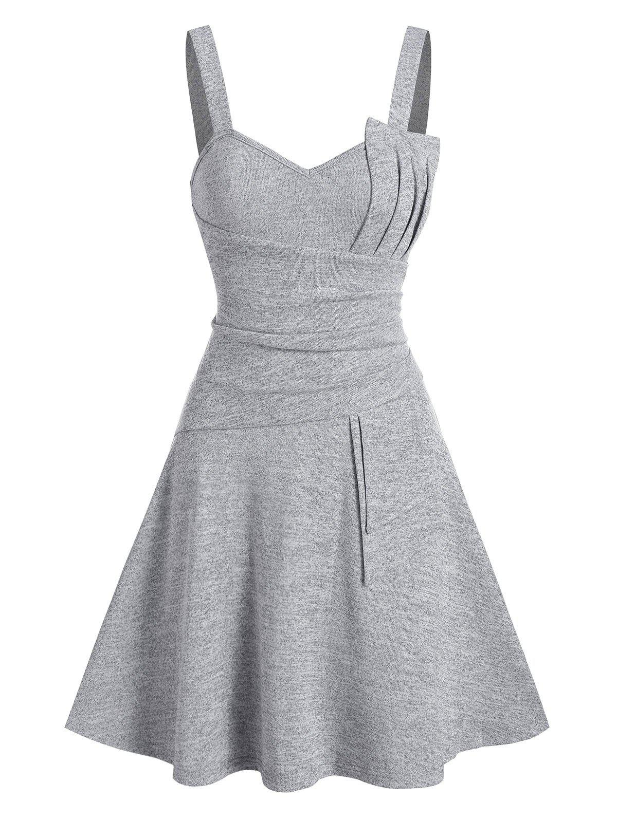 Plain Pleated Knitted Cami A Line Dress - GRAY 3XL