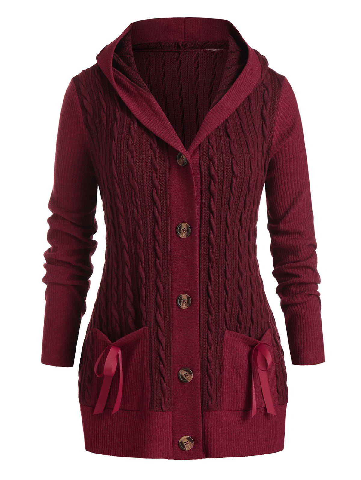 Plus Size Hooded Cable Knit Bowknot Pocket Cardigan - RED WINE L