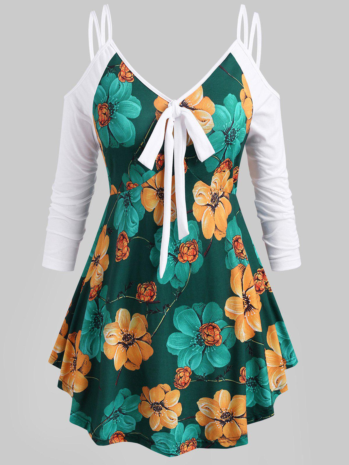 Floral Knotted Strappy Open Shoulder Plus Size Top - GREEN 5X