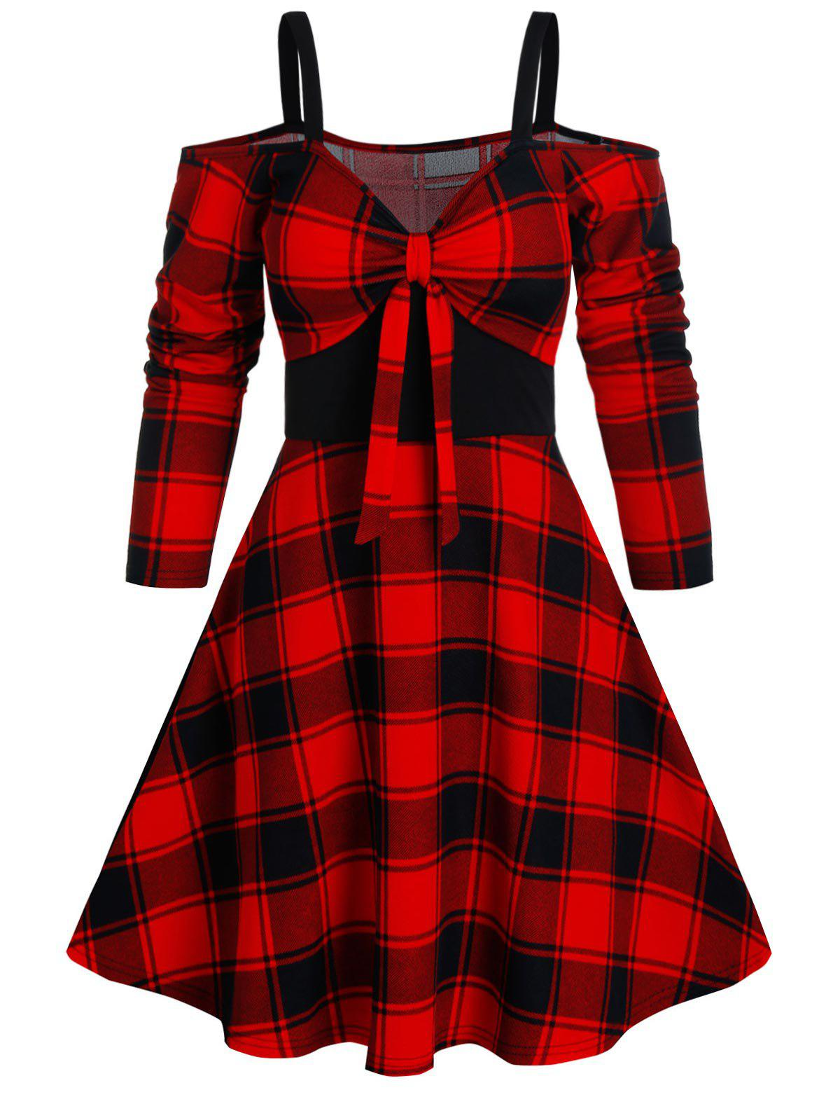 Plaid Print Cold Shoulder Knotted Flare Dress - RED 3XL