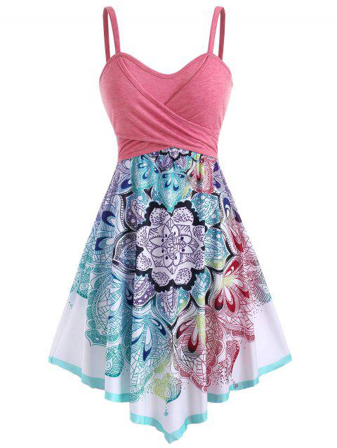Bohemian Flower Crossover Empire Waist Dress