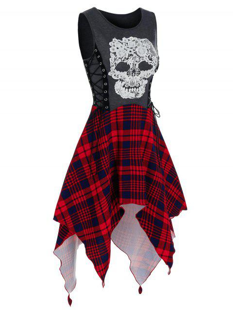 Gothic Skull Plaid Pattern Handkerchief Dress