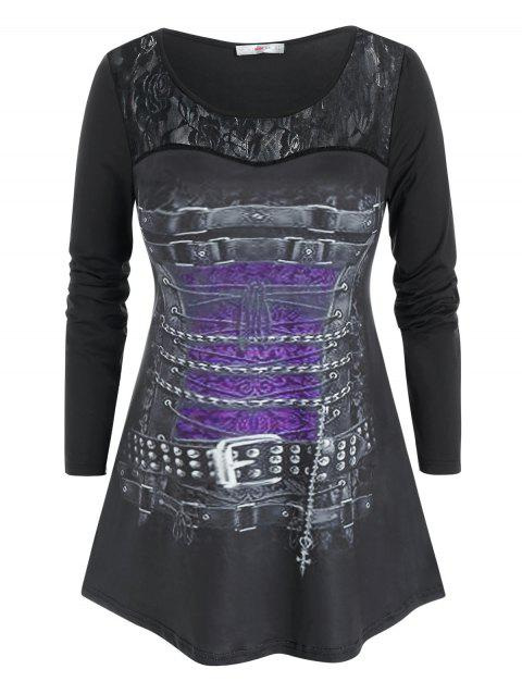 Plus Size Buckle Chains Pattern Lace Insert Tunic Tee