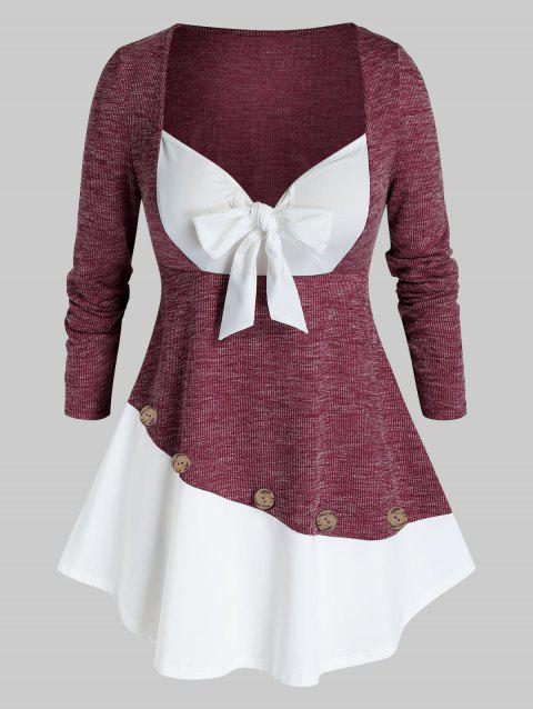 Plus Size Bowknot 2 in 1 Skirted T Shirt