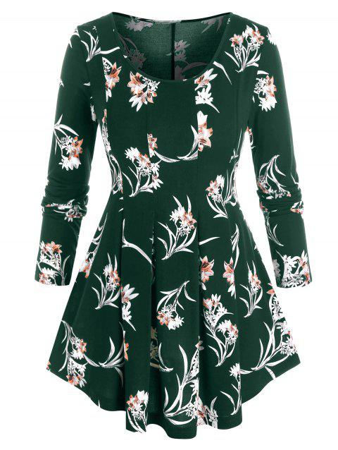 Plus Size Flower Print Long Sleeve Pleated Top
