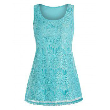 Lace Overlay Plus Size Tank Top