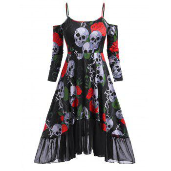 Floral Skull Open Shoulder High Low Halloween Plus Size Dress