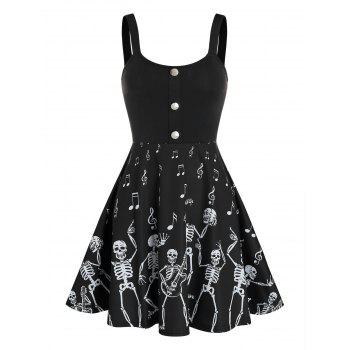 Halloween Skeleton Music Note Print Skater Dress