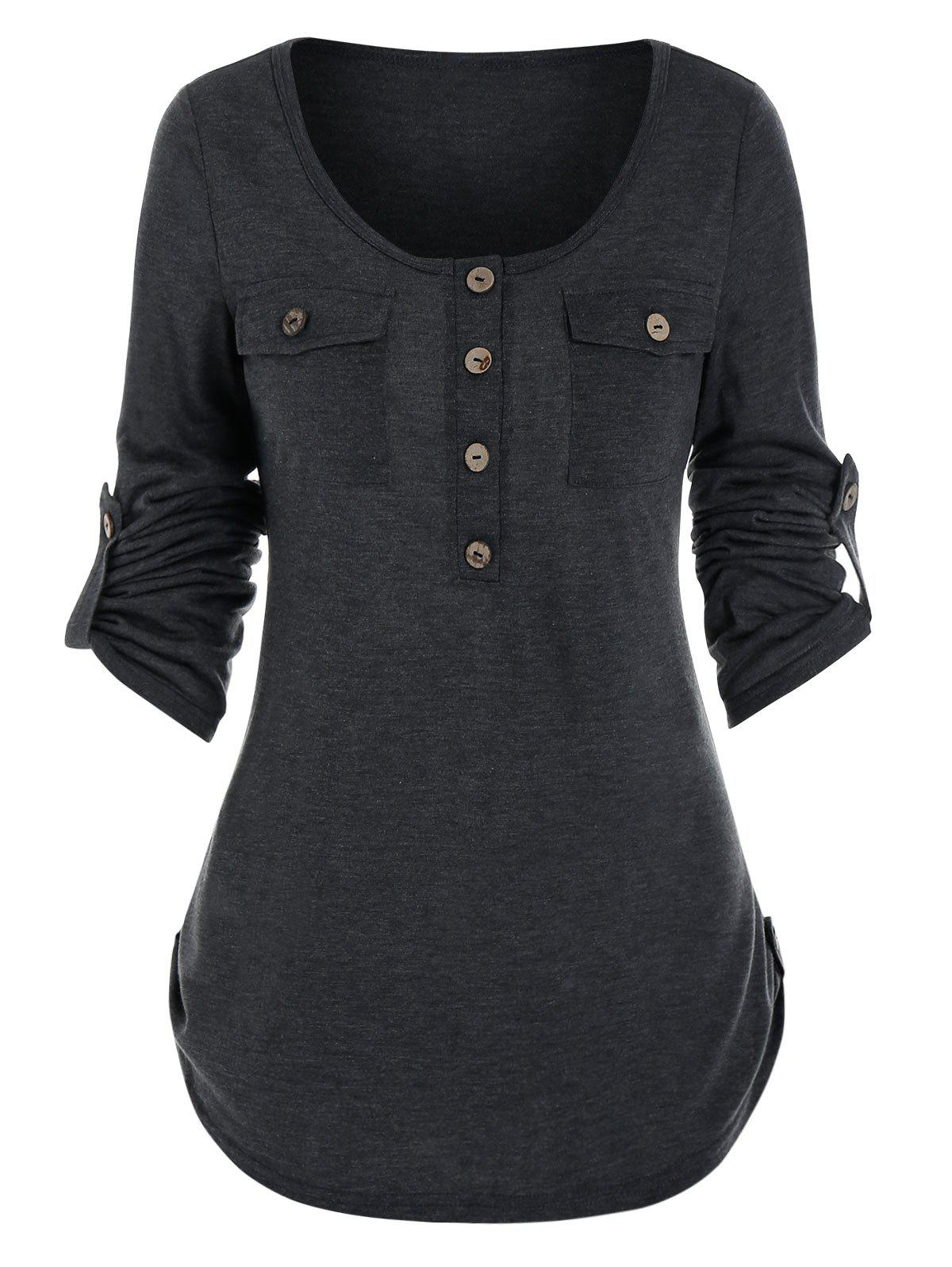 Round Collar Buttons Roll Up Sleeve T-shirt - ASH GRAY M