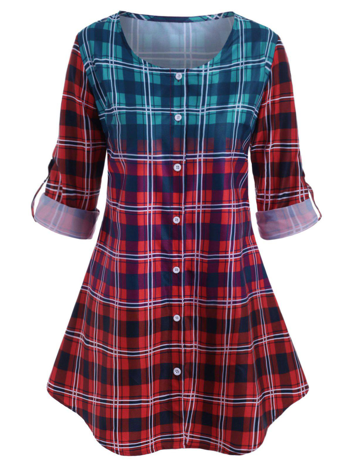 Plus Size Ombre Color Plaid Roll Up Sleeve Blouse - RED L