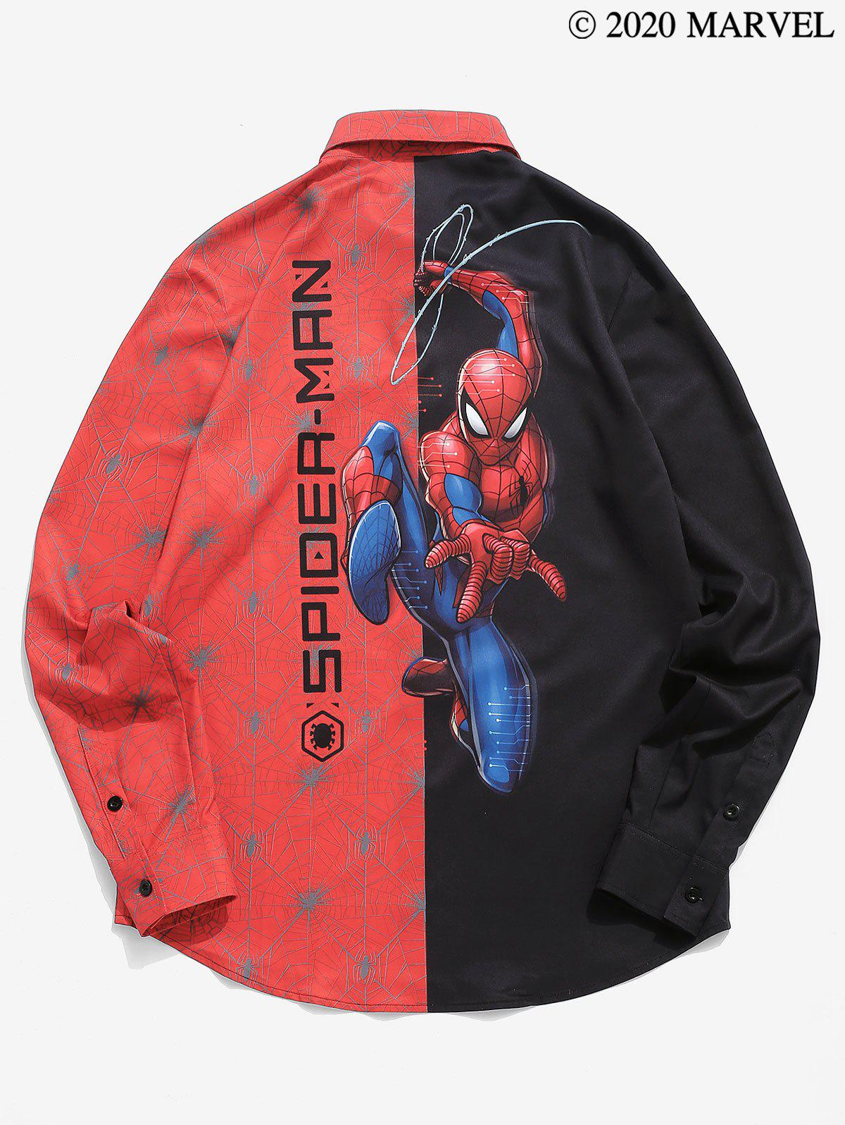 Marvel Spider-Man Contrast Print Long Sleeve Graphic Shirt - BLACK 2XL