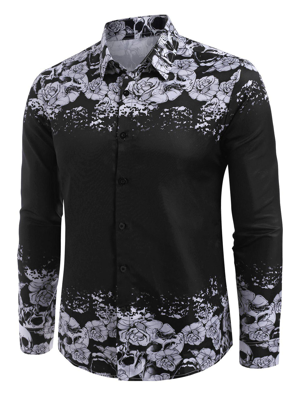 Halloween Floral Skull Print Button Up Shirt - BLACK M