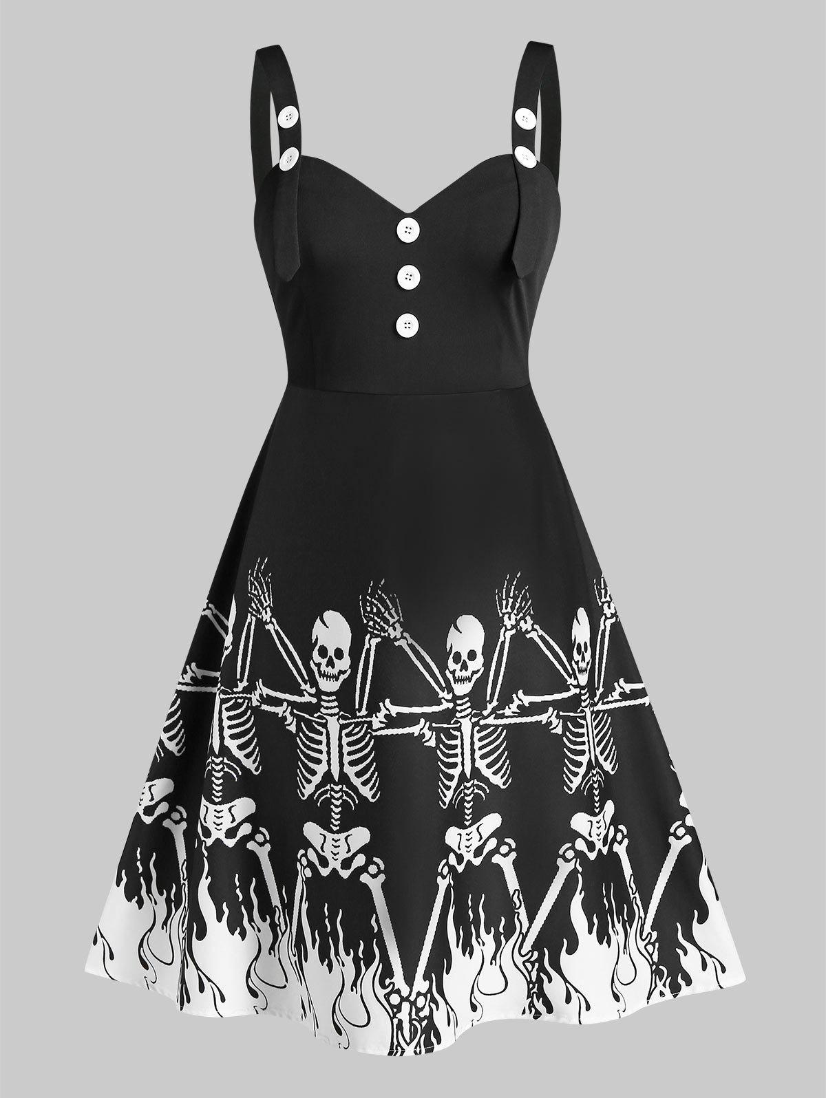 Plus Size Retro Button Skeleton Printed Dress - BLACK 3X