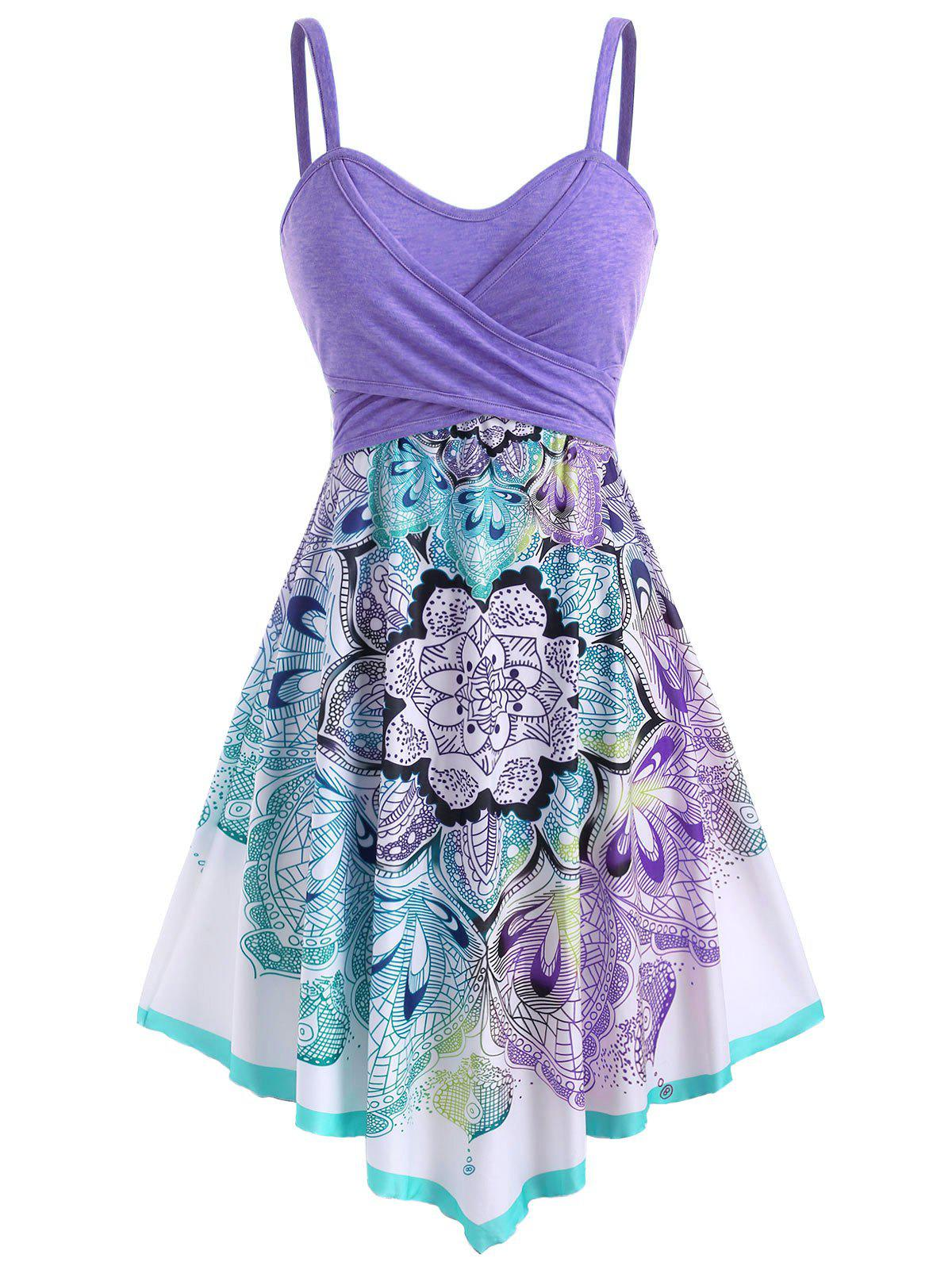 Bohemian Flower Crossover Empire Waist Dress - LIGHT PURPLE M