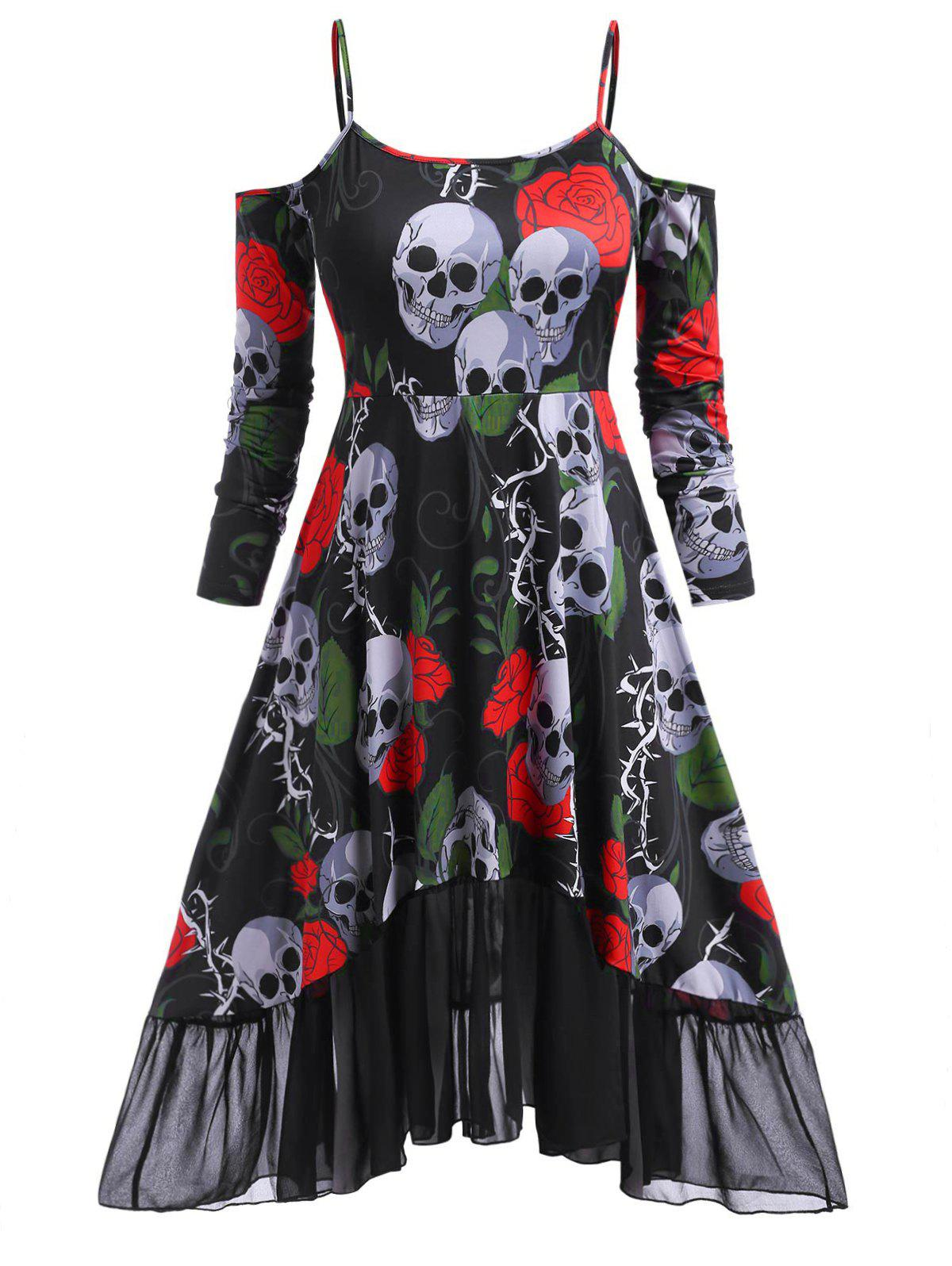 Floral Skull Open Shoulder High Low Halloween Plus Size Dress - RED 3X