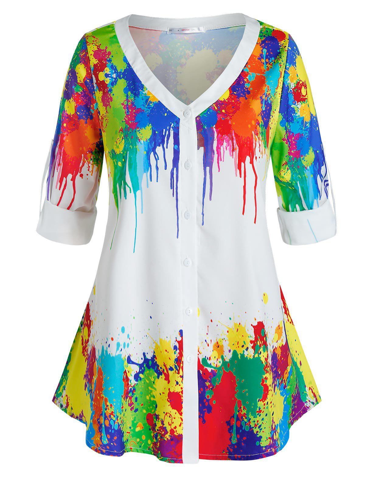Plus Size Colorful Splatter Paint Roll Up Sleeve Top - multicolor 5X