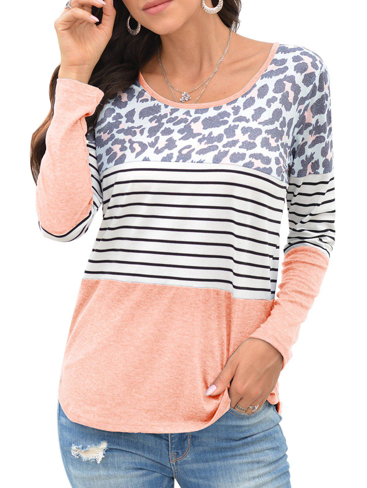 Leopard Striped Long Sleeve T-shirt - LIGHT PINK L