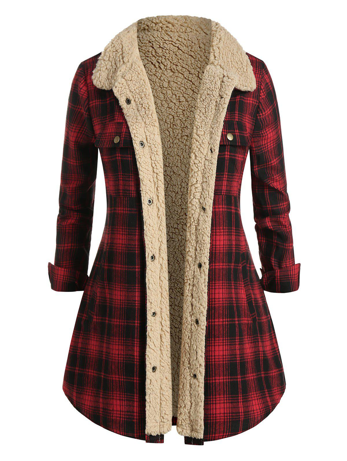 Plus Size Plaid Flannel Teddy Lined Tunic Jacket - multicolor 1X