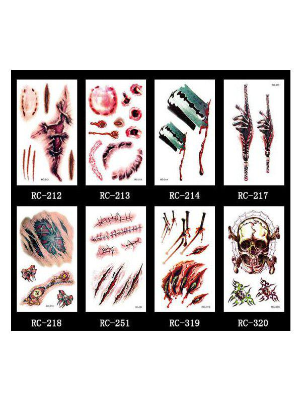Halloween Waterproof Blood Wound Tattoo Stickers Set - multicolor A