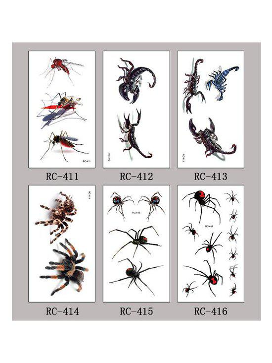 Halloween Waterproof 3D Insect Spider Tattoo Stickers Set - multicolor