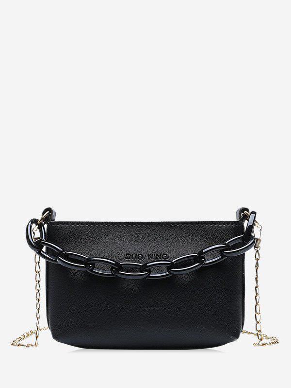 Pure Color Chain Embellished Leather Mini Sling Bag - BLACK