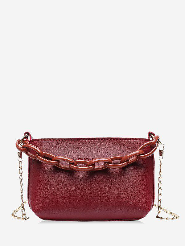 Pure Color Chain Embellished Leather Mini Sling Bag - DEEP RED
