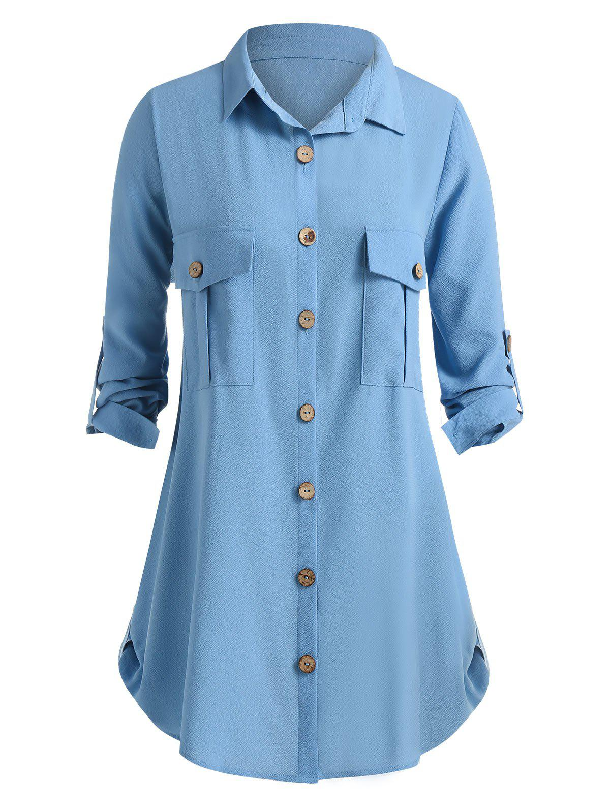 Plus Size Pockets Solid Tab Sleeve Blouse - BLUE KOI 5X