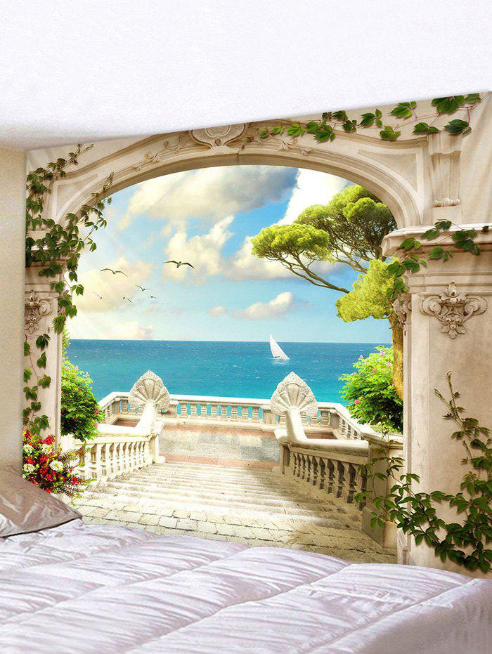 Seaside Palace Print Tapestry Wall Hanging Art Decor - multicolor W79 X L71 INCH
