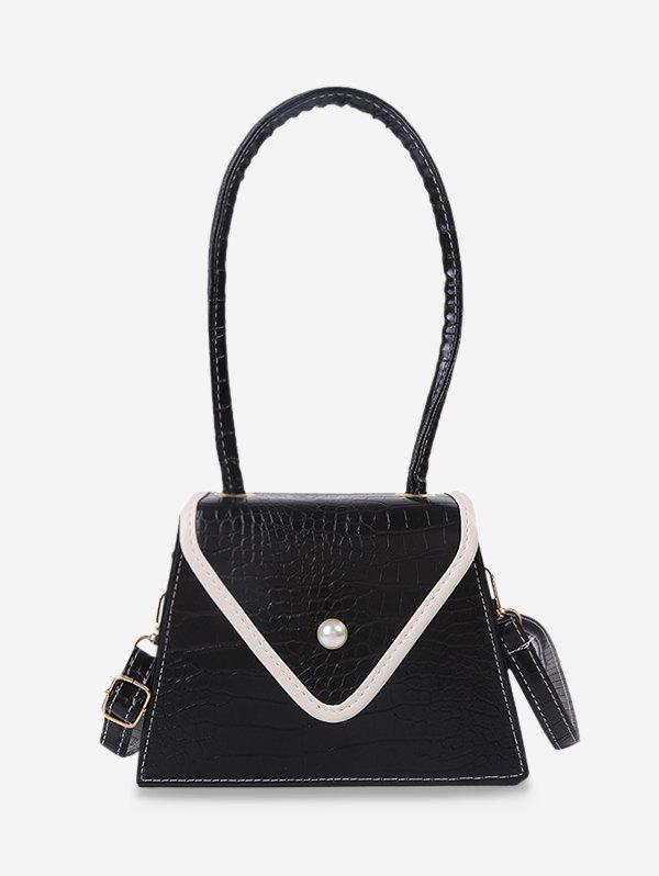 Retro Textured Faux Pearl Trapezoid Shoulder Bag - BLACK