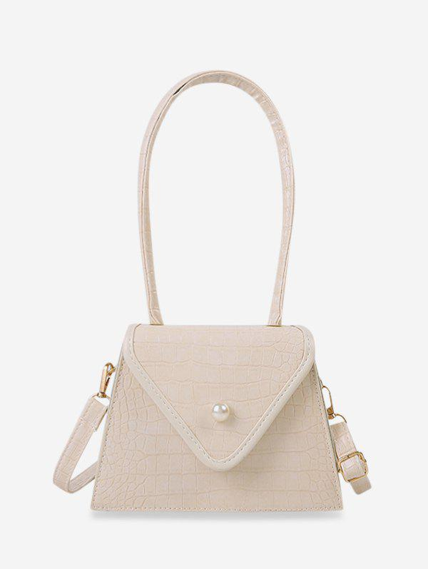 Retro Textured Faux Pearl Trapezoid Shoulder Bag - LIGHT YELLOW