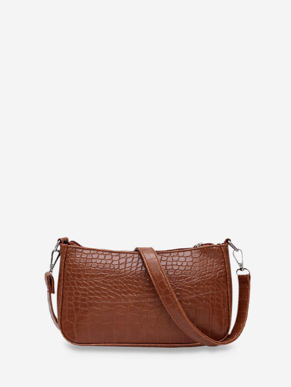 Animal Embossed Simple Style Sling Bag - COFFEE