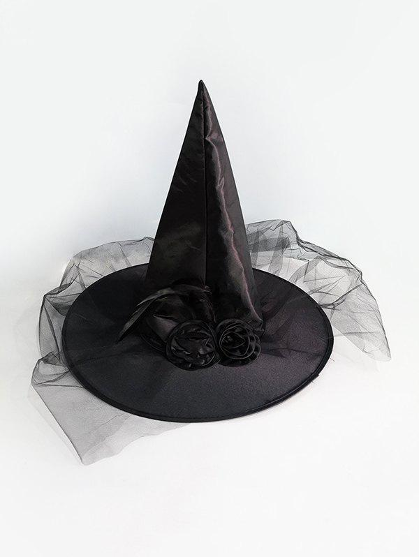 Halloween Adult Children Rose Mesh Cosplay Witch Hat - BLACK