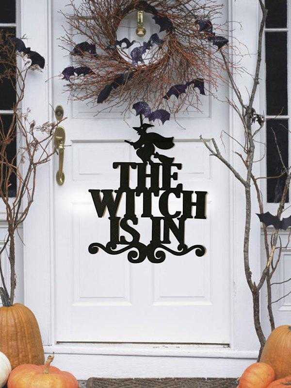Halloween Door Wall Non-woven Fabric Witch Hanging Decor - BLACK