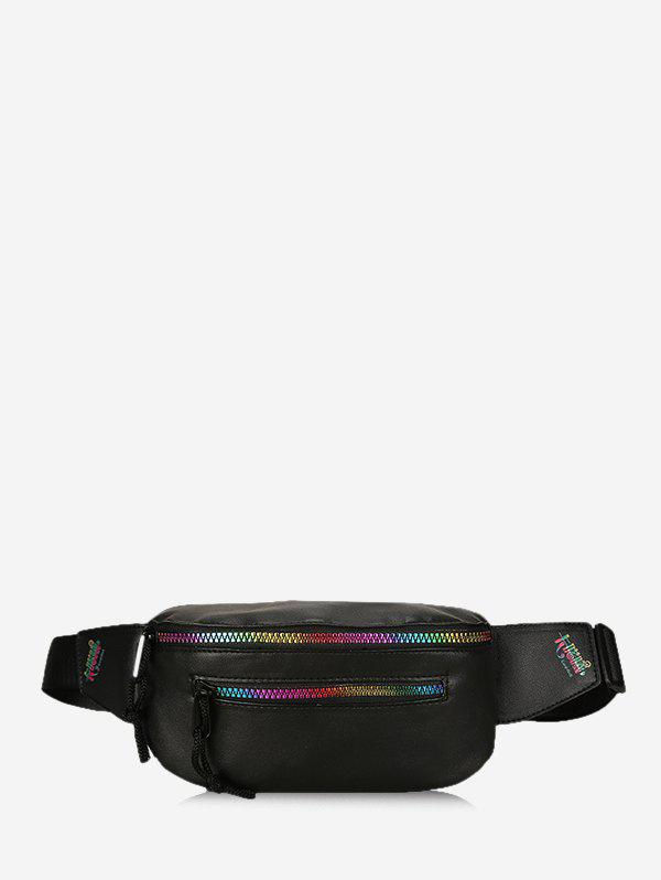 Colorful Zipper Leather Chest Bag - BLACK